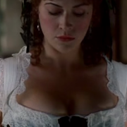 Parisse Boothe busty cleavage on HBO's DEADWOOD (2 non-HD caps)